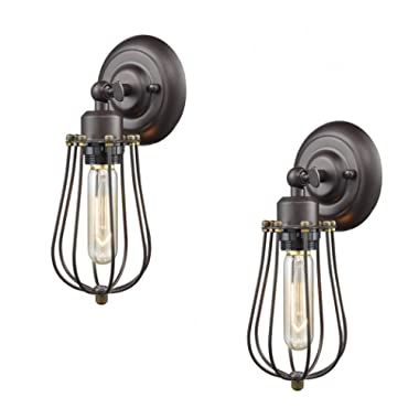 Ecopower Light Wire Cage Wall Sconce 2 Pack CLAXY Industrial Oil Rubbed Bronze Bulb Wall Light