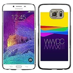 FECELL CITY // Duro Aluminio Pegatina PC Caso decorativo Funda Carcasa de Protección para Samsung Galaxy S6 SM-G920 // Apple Purple Yellow Waves Technology