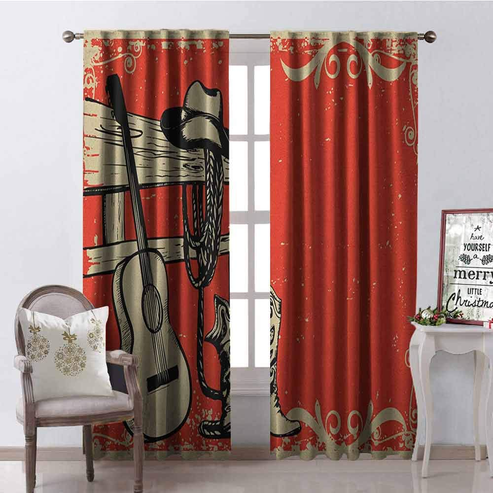 Gloria Johnson Western Heat Insulation Curtain Image of Wild West Elements with Country Music Guitar and Cowboy Boots Retro Art for Living Room or Bedroom W42 x L84 Inch Beige Orange by Gloria Johnson