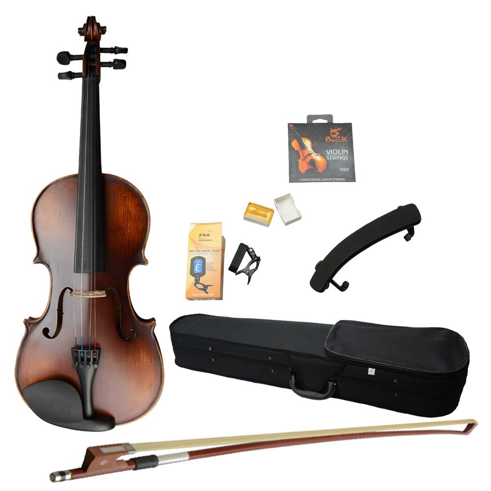 MCH 4/4 Full Size Classic Retro Solid Wood Acoustic Violin Starter Kits ( Violin Case , Bow , Rosin , Shoulder Rest , Electronic Tuner) , Beginner Pack for Adult
