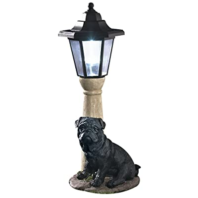 Bits and Pieces-Solar Light Black Pug-Solar Powered Garden Lantern - Resin Dog Sculpture With LED Light