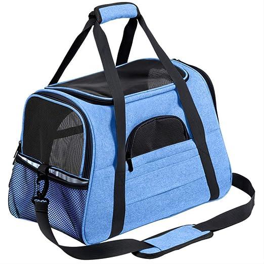 lywlj Portador de Perro portátil Mascota Mensajero Gato Portador saliente pequeño Perro Bolsa de Viaje Suave Lado Transpirable Portador de Mascotas para el Gato 44.5x25x28cm Blue: Amazon.es: Productos para mascotas