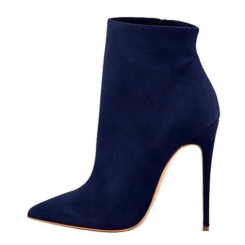 ELASHE Botines para Mujer | 4.8 Inch Zapatos de tacón | Botines de tacón Alto Botas con Cremallera Suede: Amazon.es: Zapatos y complementos