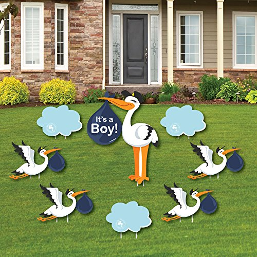 Stork With Baby (Boy Special Delivery - Baby Announcement Yard Sign & Outdoor Lawn Decorations - Blue It's A Boy Stork Baby Shower Yard Signs - Set of)