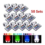 CO-Z Bright 16-color Changing 9W E27 RGB LED Light Bulbs with Remote Control 100-240V AC for Holiday Chirsitmas Party (3W * 50PCS)