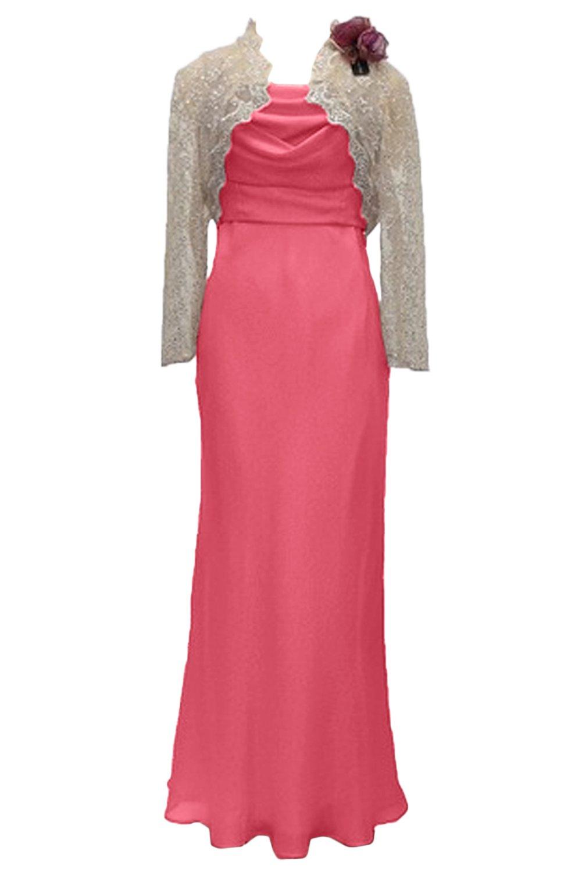 (ウィーン ブライド)Vienna Bride 披露宴用母親ドレス ママのドレス ロングドレス ピンク 結婚式 ボレロ 2ピースドレス レース パーティー 二次会 演奏会 発表会 B078W4R2RR 17 スイカレッド スイカレッド 17