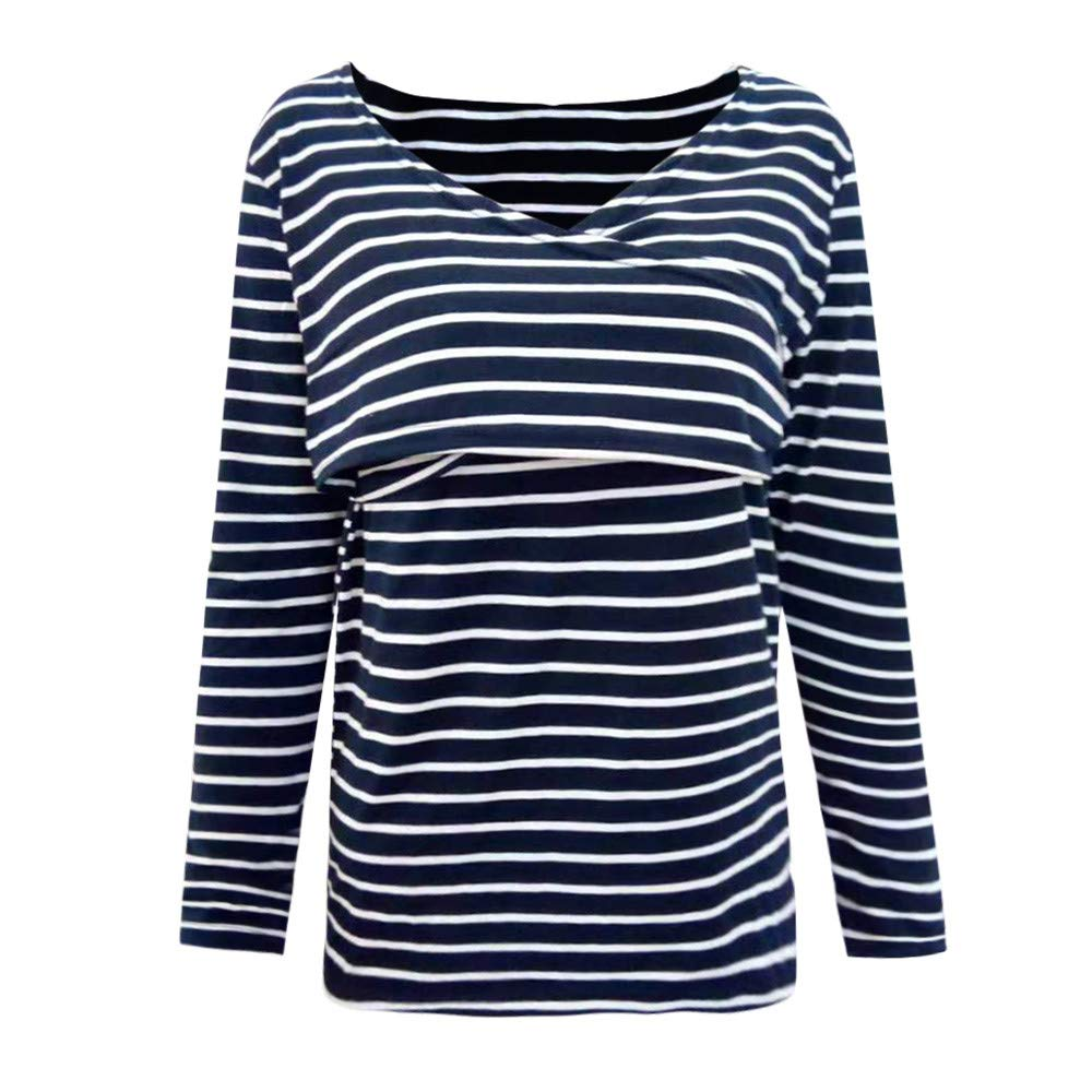 HEETEY Women Stripe Long Sleeve Asymmetrical Hem Nursing Tunic Tops for Breastfeeding Mom Pregnant Polyester Shirt