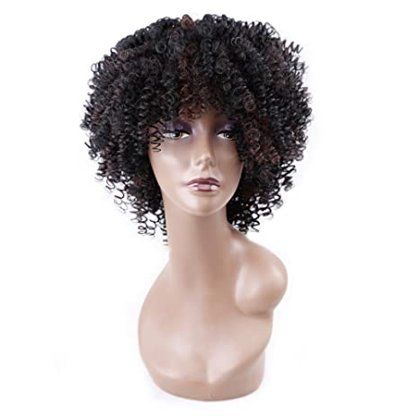 Amazon.com: Kinky Curly Afro Wig Synthetic Hair Short Wigs for Women and Men African Pelucas Sinteticas Cosplay (Black mix Brown): Beauty