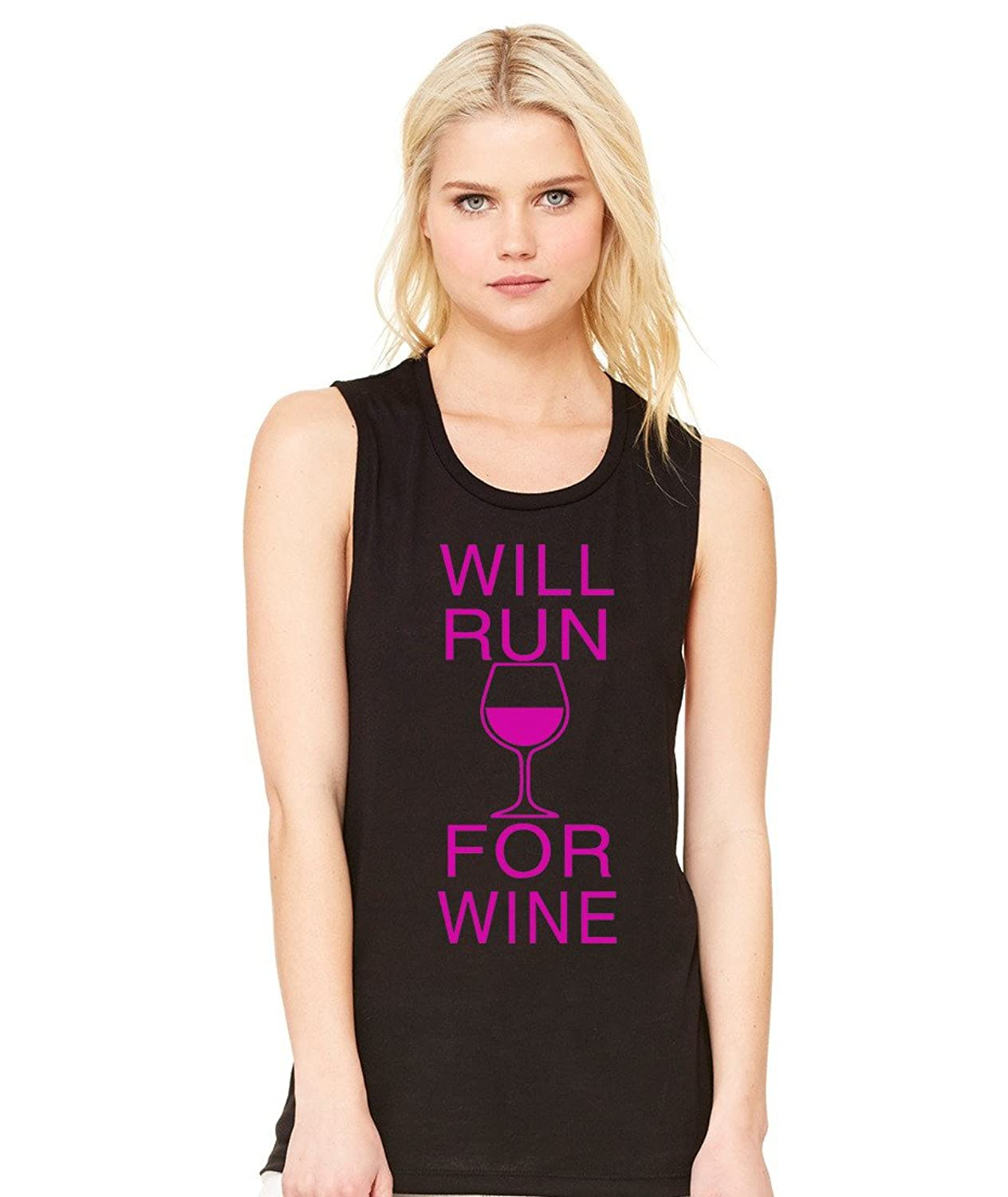 Will Run For Wine Workout Flowy Muscle Tank Top By Superior Apparel