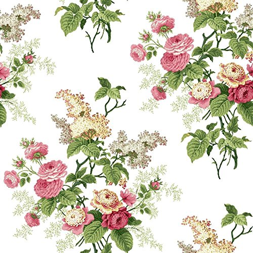 York Wallcoverings ER8180 Waverly Cottage Emma's Garden Wallpaper, White/Pink/Green/Butterscotch/Grey (Peony Cottage)