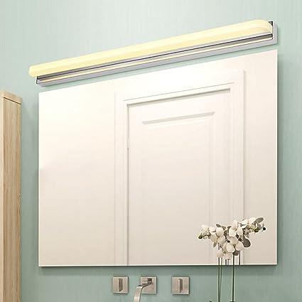 BiuTeFang lámpara led led espejo luz delantera niebla baño baño espejo lámpara de pared moda simple moderno espejo luz del gabinete luz cálida 62cm 14W: Amazon.es: Iluminación