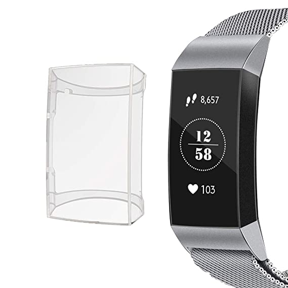 Screen Protector for Fitbit Charge 3/Charge 3 SE, Soft TPU Protective Cover  Scratch-Resistant Transparent Frame, case for Fitbit Charge 3/Charge 3 SE