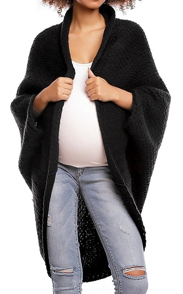 Happy Mama. Womens Maternity Knit Cocoon Cardigan Dolman Sleeve Pregnancy. 364p (Black, ONE SIZE - FITS ALL)