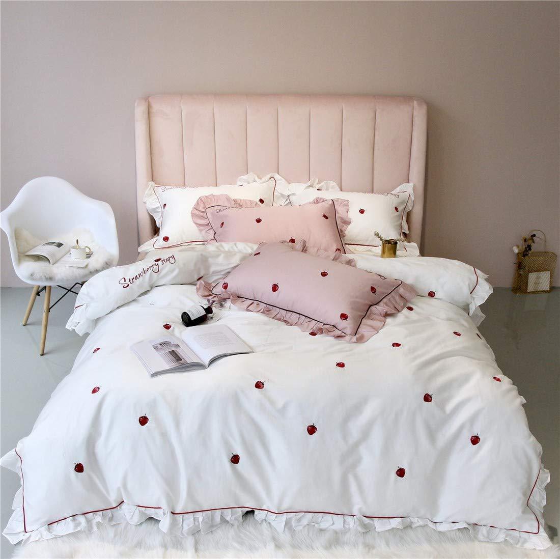 CUBCBIIS プリンセススタイルのレースパウダーホワイトシンプルピュアコットンサテンコットン寝具4枚 (Color : White, Size : QUEEN) B07TDJ4F7L White Queen