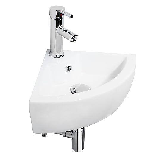 Hapilife Bathroom Sink Ceramic Cloakroom Corner Basin Wall Hung Hapi S40A