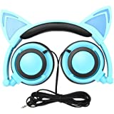 Cat Ear Headphones,SNOW WI Flashing Glowing Cosplay Fancy Cat Headphones Foldable Over-Ear Gaming Headsets Earphone with LED Flash light for iPhone 7/6S/iPad,Android Mobile Phone,Macbook (blue)