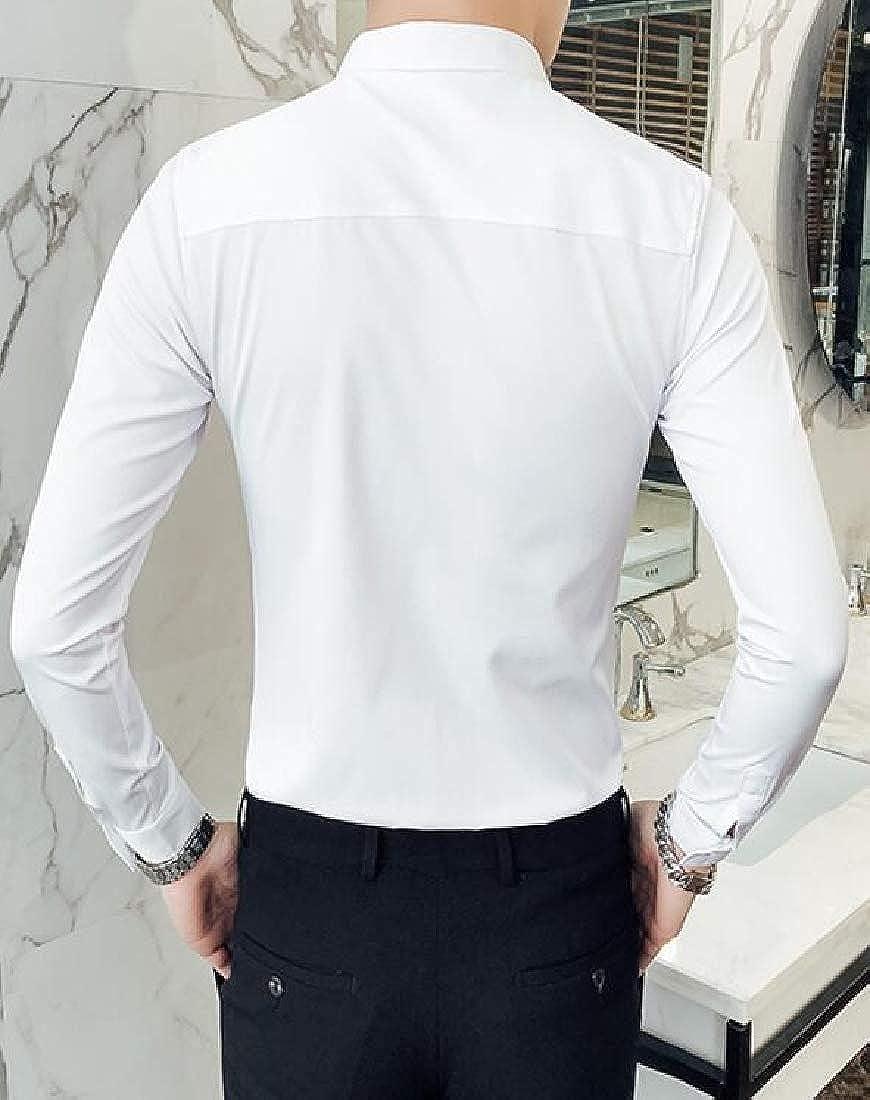 Jotebriyo Mens Business Lapel England Long Sleeve Regular Fit Button Down Shirts