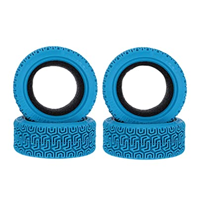 LAFEINA 1/10 RC Car Flat Run Foam Insert Rubber Tyres 68mm Rally Tires for 1:10 RC On Road Car Traxxas Tamiya HSP HPI Kyosho RC Rally Car 4PCS (Blue): Toys & Games