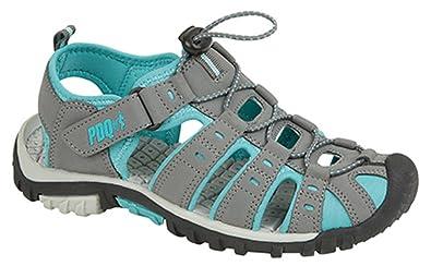 Damen Trekking-Sandalen von PDQ, Knebelknopf und Klettverschluss, Grau - Grau / Fuchsia - Größe: 42