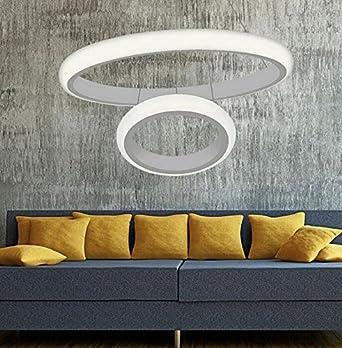 Ringleuchte Zwei Ringe Hngelampe Wohnzimmer Modern Led Dimmbar Esstischlampe Rund Wohnzimmerlampe Pendelleuchten Decke Lampe Esstisch Licht