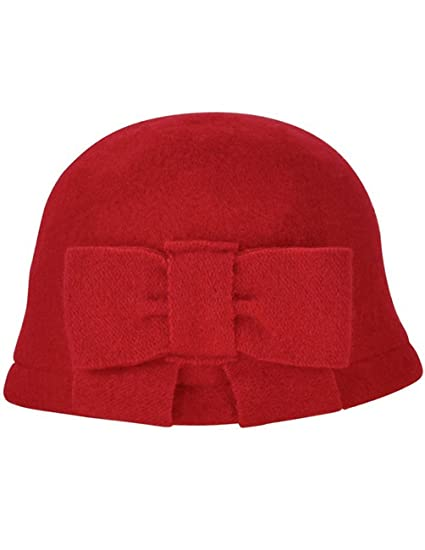 bd06cd14fc0 Dahlia Women s Vintage Large Bow Wool Cloche Bucket Hat - Red at ...