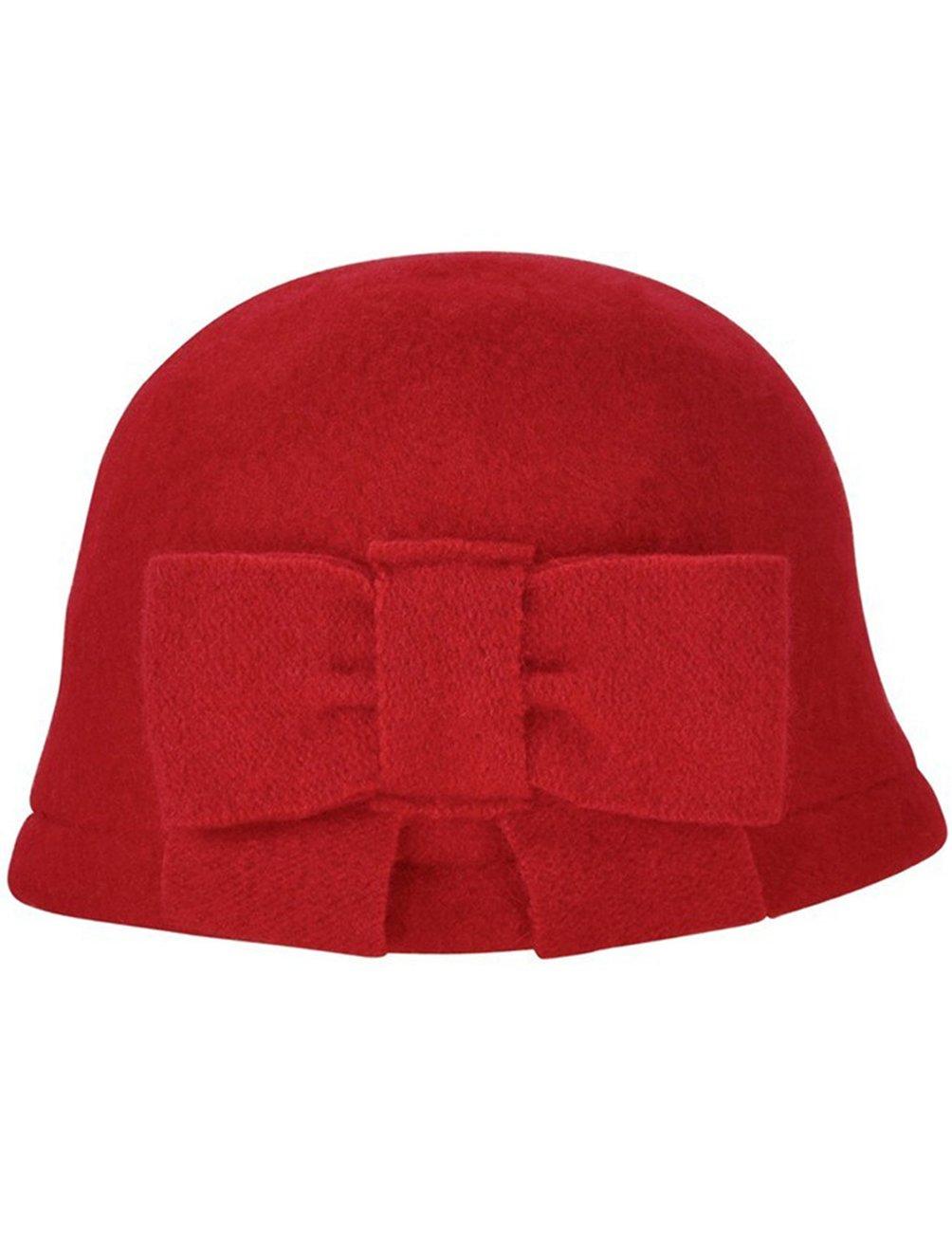 Dahlia Women's Vintage Large Bow Wool Cloche Bucket Hat - Red