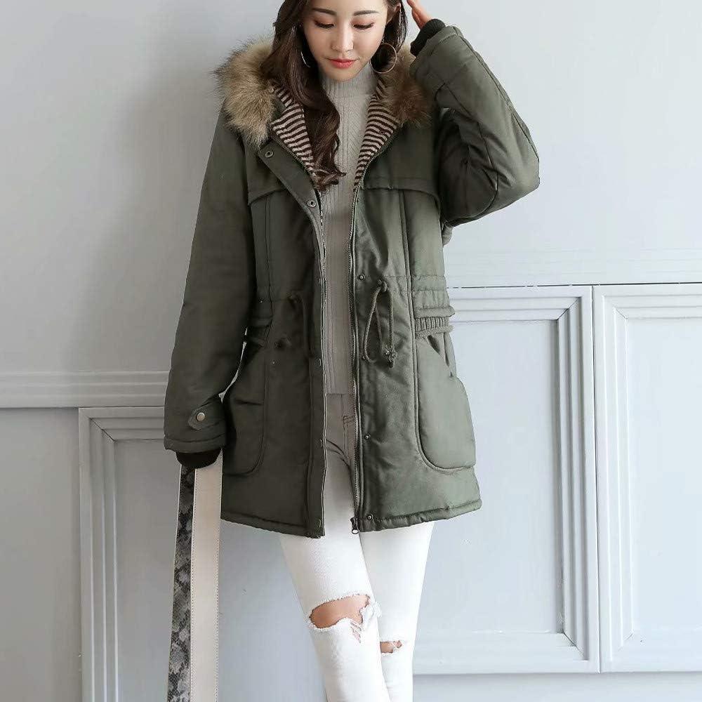 Womens Winter Fleece Hooded Coats Long Sleeve Outdoor Wind Warm Zip Pocket Jacket Overcoats