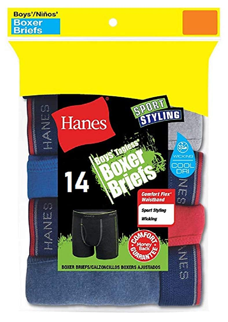 Hanes Boys 14-Pack Sport Style Assorted Color Tagless Boxer Briefs B74R14