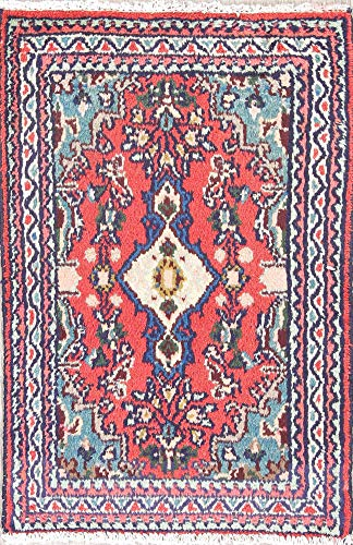 (Rug Source Traditional Hamedan Persian Hand Knotted Wool Oriental Area Rug 2x3 Red (2' 8