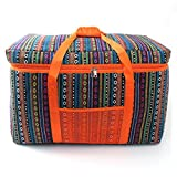 Large Family Size Ethnic Style Picnic Tote Thicken 6T Foam Collapsible Cooler Bag Grill Accessories Tool Set for Outdoor Sports Camping BBQ, Holidays Party, Beach, Picnics YCB003 (orange)