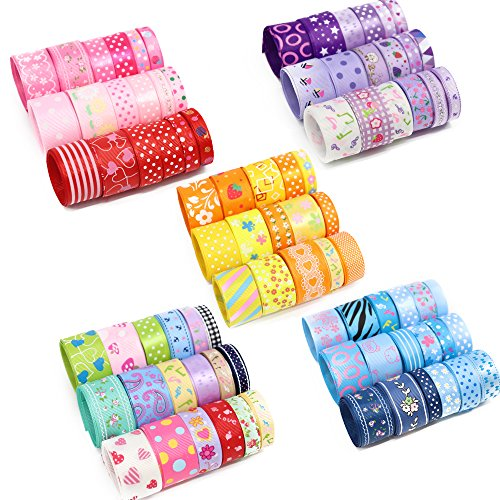 Fun Ribbon - 60yards,12yards/range,5 ranges,1yard/piece Grosgrain and Satin Ribbon assortment Style/size randomly