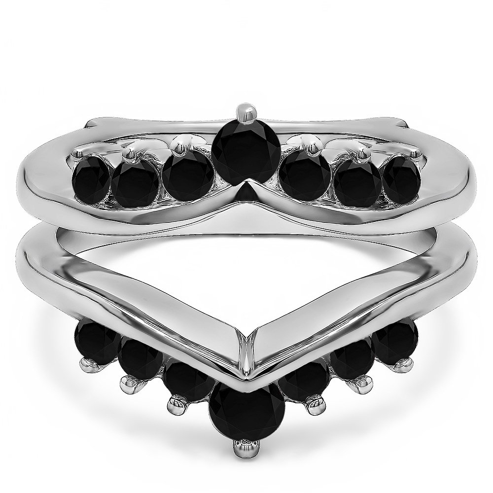 0.25 ct. Black Diamonds Gorgeous Chevron Style Ring Guard Enhancer in Sterling Silver (1/4 ct. twt.)