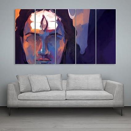 Inephos Multiple Frames Lord Shiva Wall Painting 150 Cm X 76 Cm Set Of 5 Multicolour