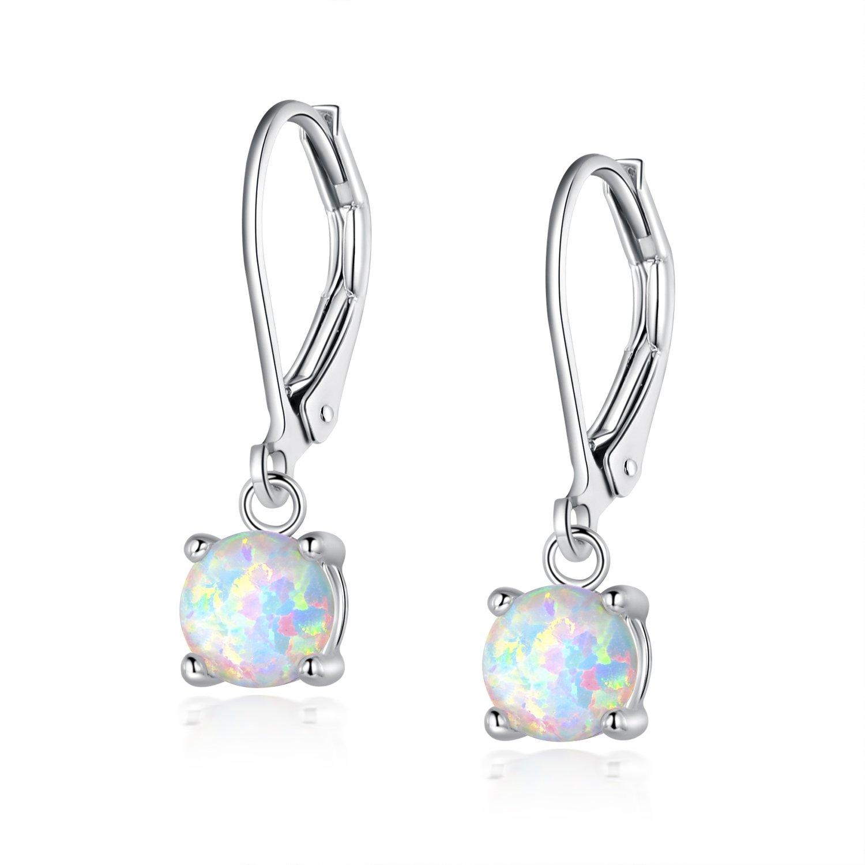 White Opal Leverback Drop Earrings Round Cut 6mm Birthstone Nickel Free Hypoallergenic for Teen Girls Women