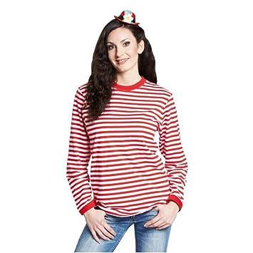 Ringelshirt langarm rot-weiß gestreift Unisex Pullover Oberteil Shirt  Karneval (S) 50b296e412