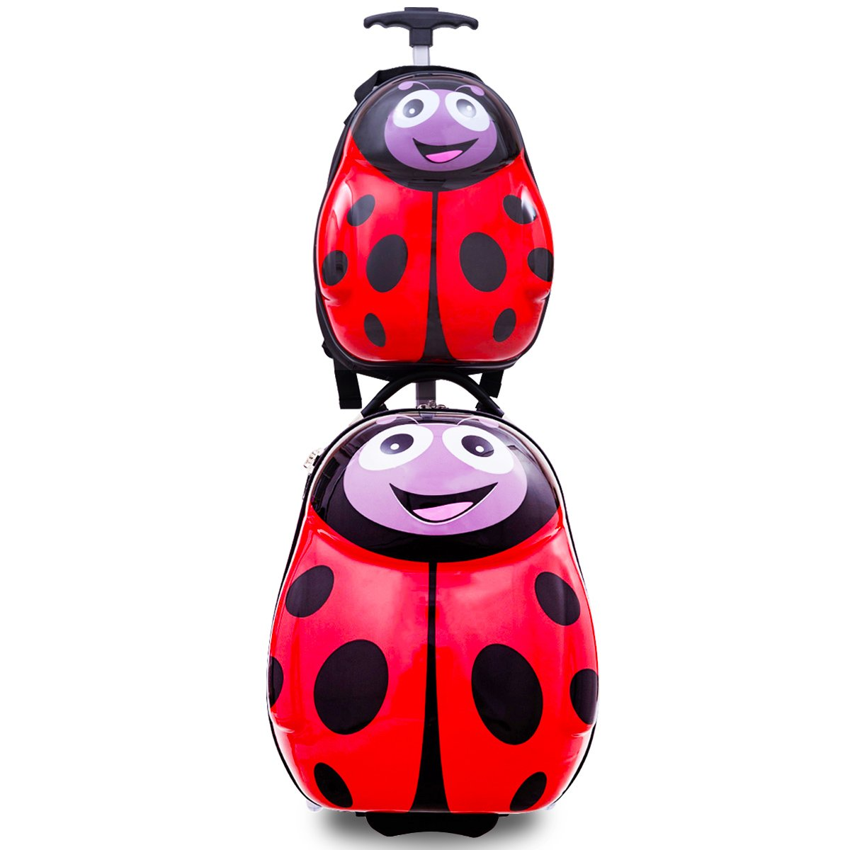 Goplus 2Pc 13'' 19'' Kids Carry On Luggage Set Travel Trolley Suitcase (Ladybug)