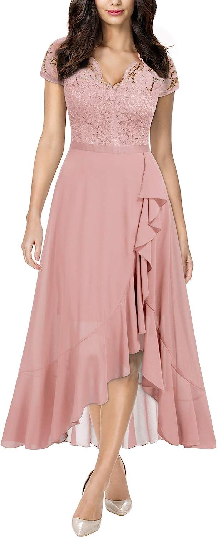 Miusol Women's V Neck Elegant Lace Ruffle Bridesmaid Maxi Dress