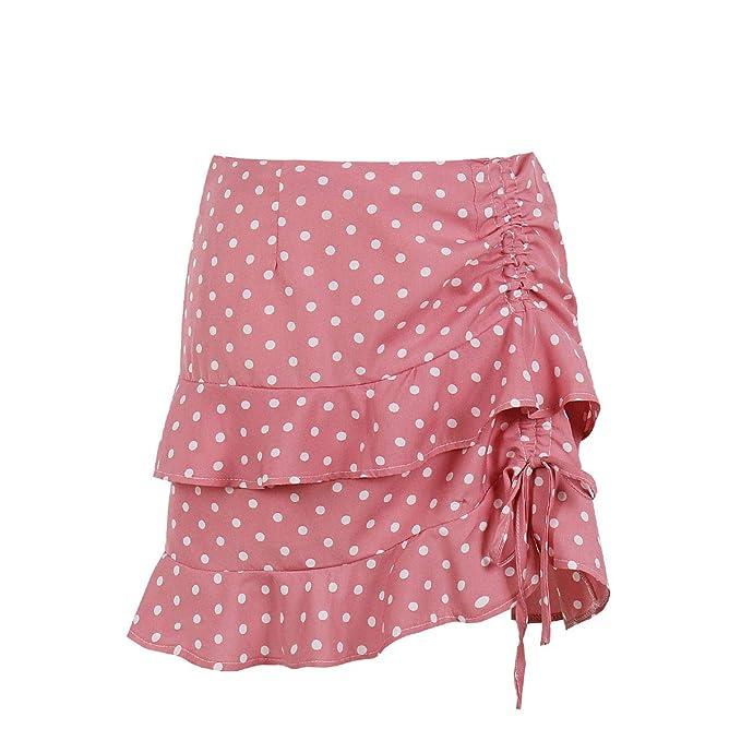 Wellwits Mini Falda Vintage con cordón y Lunares Fruncidos para ...
