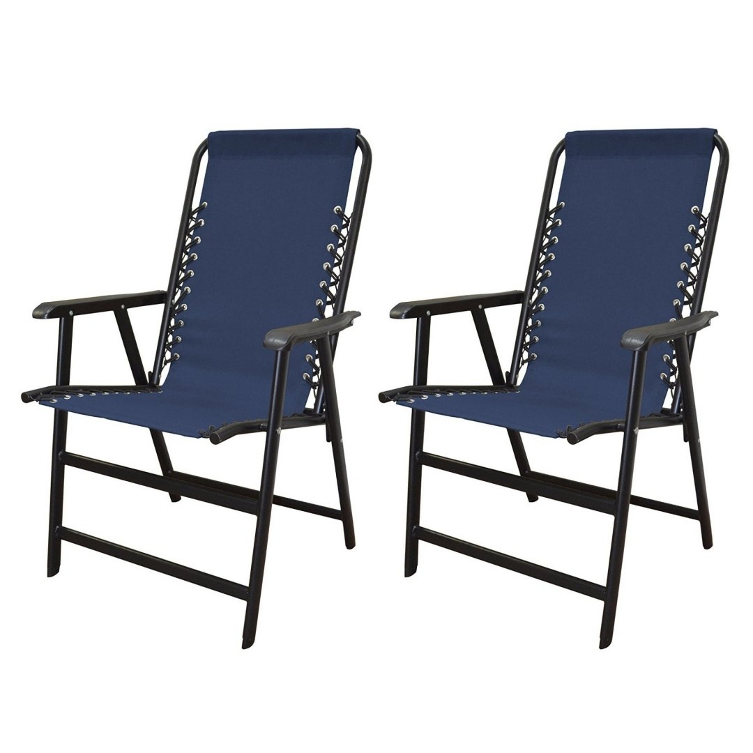 koonlert14 Outdoor Patio Folding Double Bungee System Chair Sturdy Steel Frame Lightweight Comfortable Durable Textaline Fabric Porch Garden Furniture - Set of 2 Blue #1940 by koonlert14