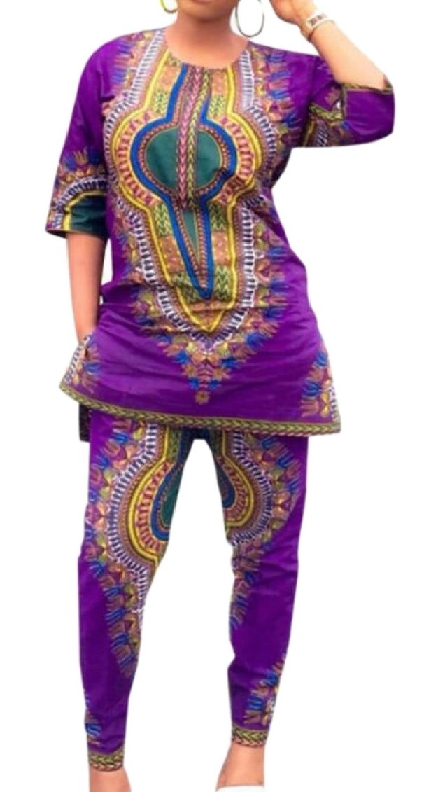 QD-CACA Women African Dresses Printed Dashiki Top and Leggings Sets