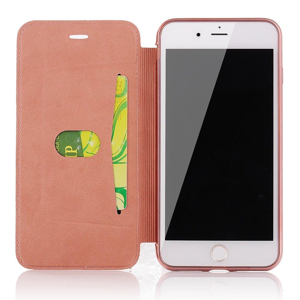 Sycode Flip Custodia per iPhone 6S 4.7,Lusso Nero a Libro Back con Fronte in PU Pelle Portafoglio Flip Cover per iPhone 6S 4.7//6 4.7-Nero
