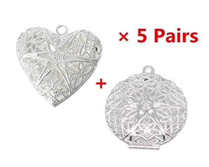 Blovess 10pcs silver round and heart shape plated photo locket frame blovess 10pcs silver round and heart shape plated photo locket frame pendants silver aloadofball Gallery