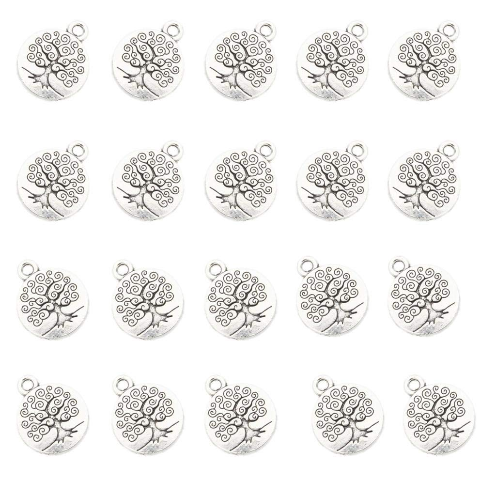 Fityle 20 Pieces Life Tree Pendant Bead 1.5x1.5cm Pendant for Bracelet Charms DIY Craft