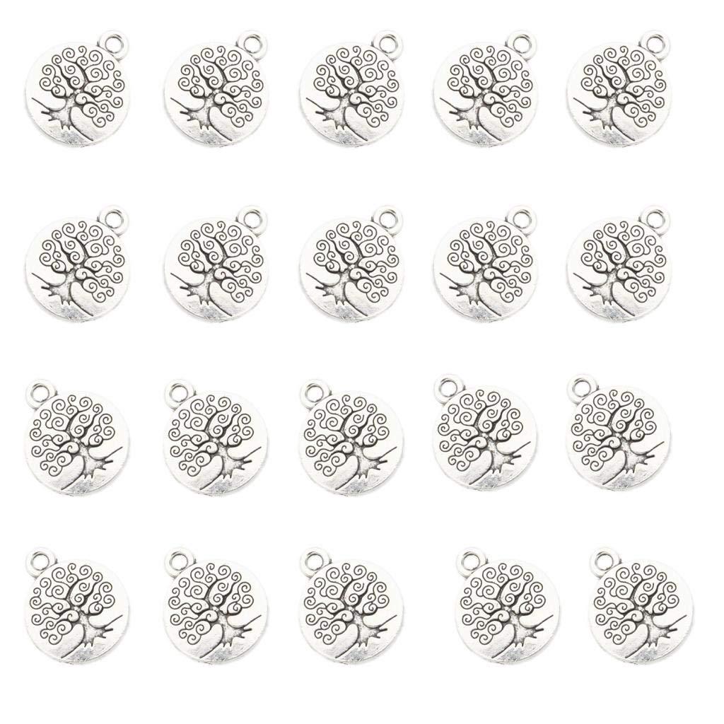 Fityle 20 Pieces Life Tree Pendant Bead 1.5x1.5cm Pendant for Bracelet Charms DIY Craft