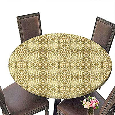 "Cheery-Home Spring & Summber Tablecloth (Elastic Edge) Suitable for All Occasions, (29.5"" Round) Golden Vintage 20s Gatsby Party Inspired Geometrical Image with Floral Details Print White and Gold."