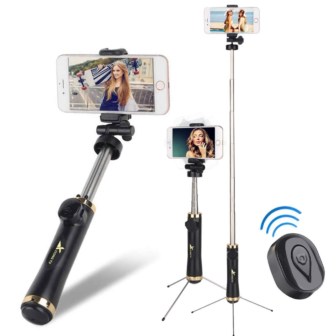 Extendable Selfie Stick Tripod with Detachable Wireless Remote and Tripod Stand for iPhone X/8/8 Plus/7/7 Plus, Galaxy S9/S9 Plus/S8/S8 Plus/Note8, Huawei, More Evanee