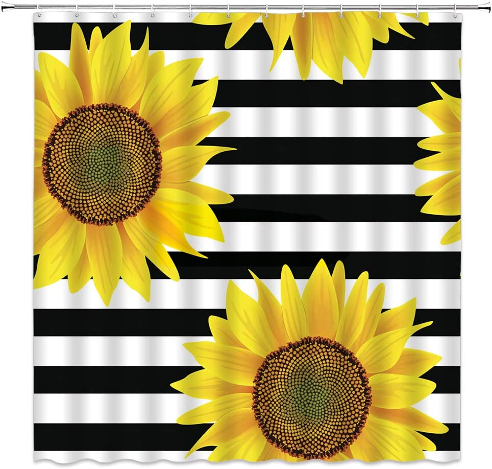 amfd sunflower shower curtain black and white striped yellow flower bright floral creative concise bathroom curtains decor quick drying polyester