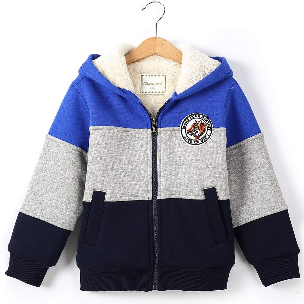 Big Boy Sherpa Fleece Lined Jacket Warm Sweatshirt Hoodie Size 9-10years (150), Blue