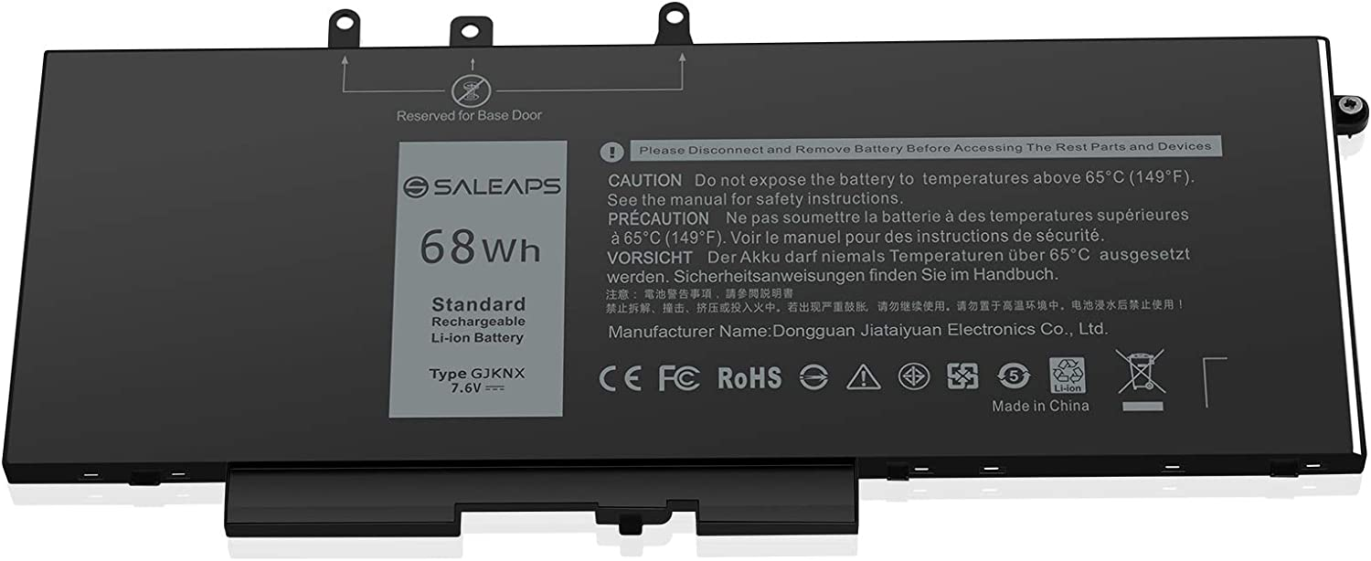 Saleaps 68Wh GJKNX Laptop Battery -Replacement for Dell Latitude 5480 5580 5590 5490 5280 E5480 E5580 E5490 E5590 Dell Precision 15 3520 3530 Series Notebook, Fit 451-BBZG GD1JP 5YHR4 DY9NT 7.6V