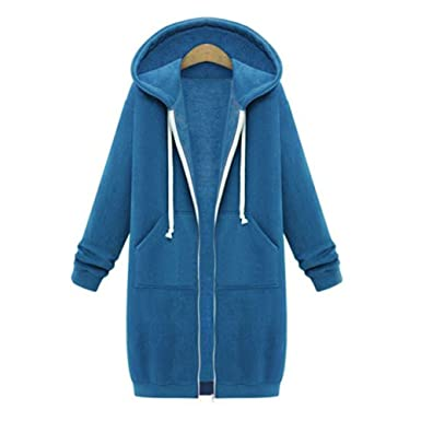 Damen Kapuzenpullover Sweatjacke Zip Hoodie Sweatshirt Reißverschluss  Oberbekleidung Lange Jacke Pullover Mantel Winter Kapuzenpulli Casual  Highdas  ... e906f62bf2